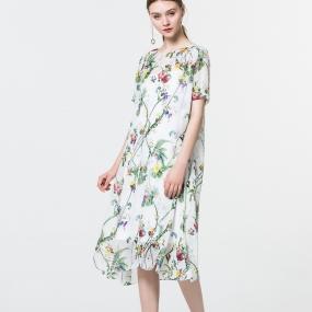 玛丝菲尔女装桑蚕丝印花连衣裙夏季专柜同款显瘦真丝