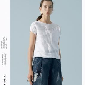 玛丝菲尔2020年夏季新款女圆领白色针织短袖薄T恤上衣