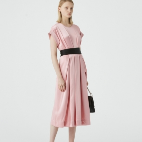 Marisfrolg玛丝菲尔2020年冬季新款粉色中长款时尚气质连衣裙裙子