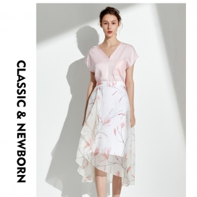 Marisfrolg玛丝菲尔2019夏季新款真丝半身裙不规则裙子印花A字裙