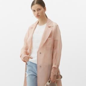 Marisfrolg/玛丝菲尔桑蚕丝2021年春季新款女装100%重磅真丝风衣