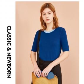 Marisfrolg玛丝菲尔女装2019夏季新款简约时尚气质打底针织衫