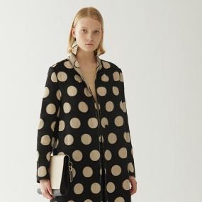 Marisfrolg玛丝菲尔羊毛2020年冬新款波点中长款毛呢外套呢子大衣