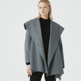Marisfrolg玛丝菲尔羊毛2020年冬季新款女装灰色短款大衣毛呢外套