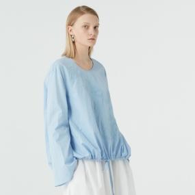 Marisfrolg/玛丝菲尔蓝色长袖衬衫2019秋季新款时尚气质上衣纯棉