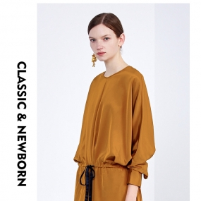 玛丝菲尔连衣裙女装2019秋季新款中长款黄色长袖裙子桑蚕丝
