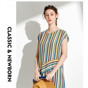 Marisfrolg/玛丝菲尔2019年夏季新款女装拼色时尚气质连衣裙裙子