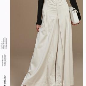 Marisfrolg玛丝菲尔白色休闲裤女装2019冬季新款阔腿裤时尚长裤子