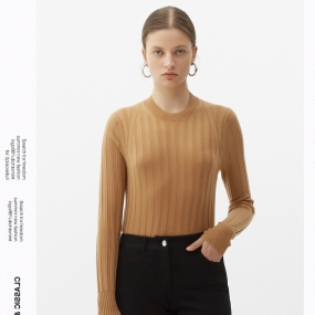 Marisfrolg玛丝菲尔羊毛2021年春季新款女装修身套头长袖毛针织衫