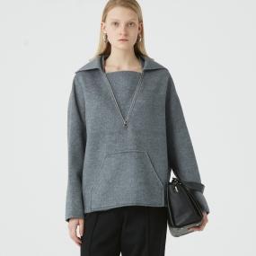 Marisfrolg玛丝菲尔羊毛2020年冬季新款女装灰色加绒加厚宽松卫衣