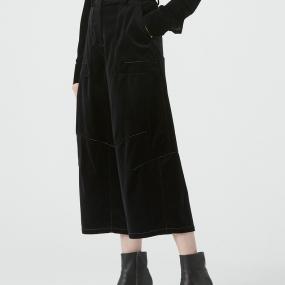 Marisfrolg/玛丝菲尔2020年冬季新款黑色纯棉九分裤休闲阔腿裤女