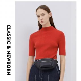 Marisfrolg玛丝菲尔羊毛2019秋季新款红色套头气质毛针织衫毛衣