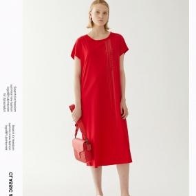 玛丝菲尔纯棉2020年夏季新短袖印花红色连衣裙T恤裙子