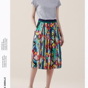 玛丝菲尔半身裙女2020年夏季新时尚拼色中长款A字裙子桑蚕丝宽松