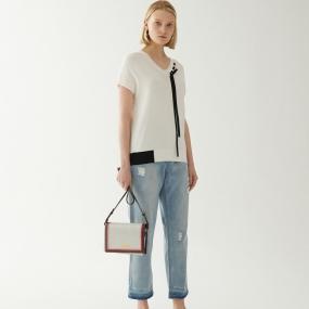 玛丝菲尔拼接T恤女2020春季新款v领短袖时尚气质薄款白色针织上衣
