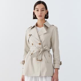 Marisfrolg/玛丝菲尔女装2021年春季新款米白色系带短款风衣外套