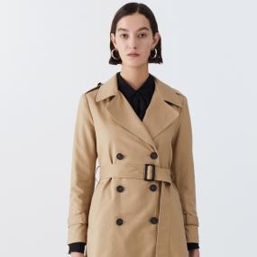 Marisfrolg/玛丝菲尔女装2021年春季新款系带修身中长款风衣外套