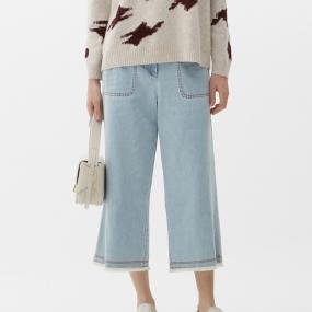 Marisfrolg/玛丝菲尔女装2021年春季新款浅蓝色直筒牛仔裤九分裤