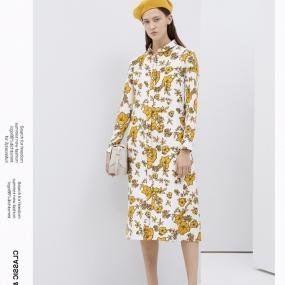 Marisfrolg/玛丝菲尔羊毛2019冬季新款印花气质连衣裙女装裙子